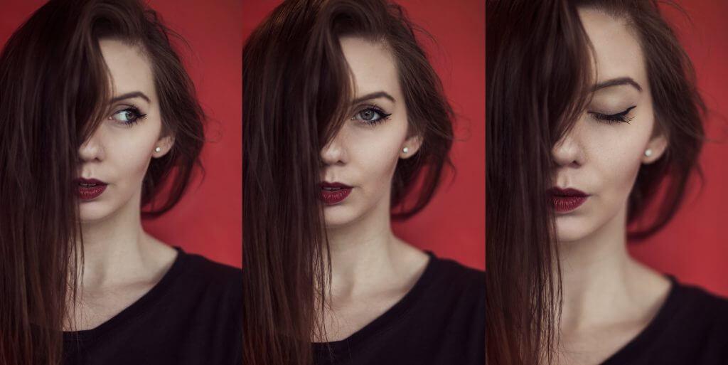 Portraitreihe von einem geschminkten Mädchen